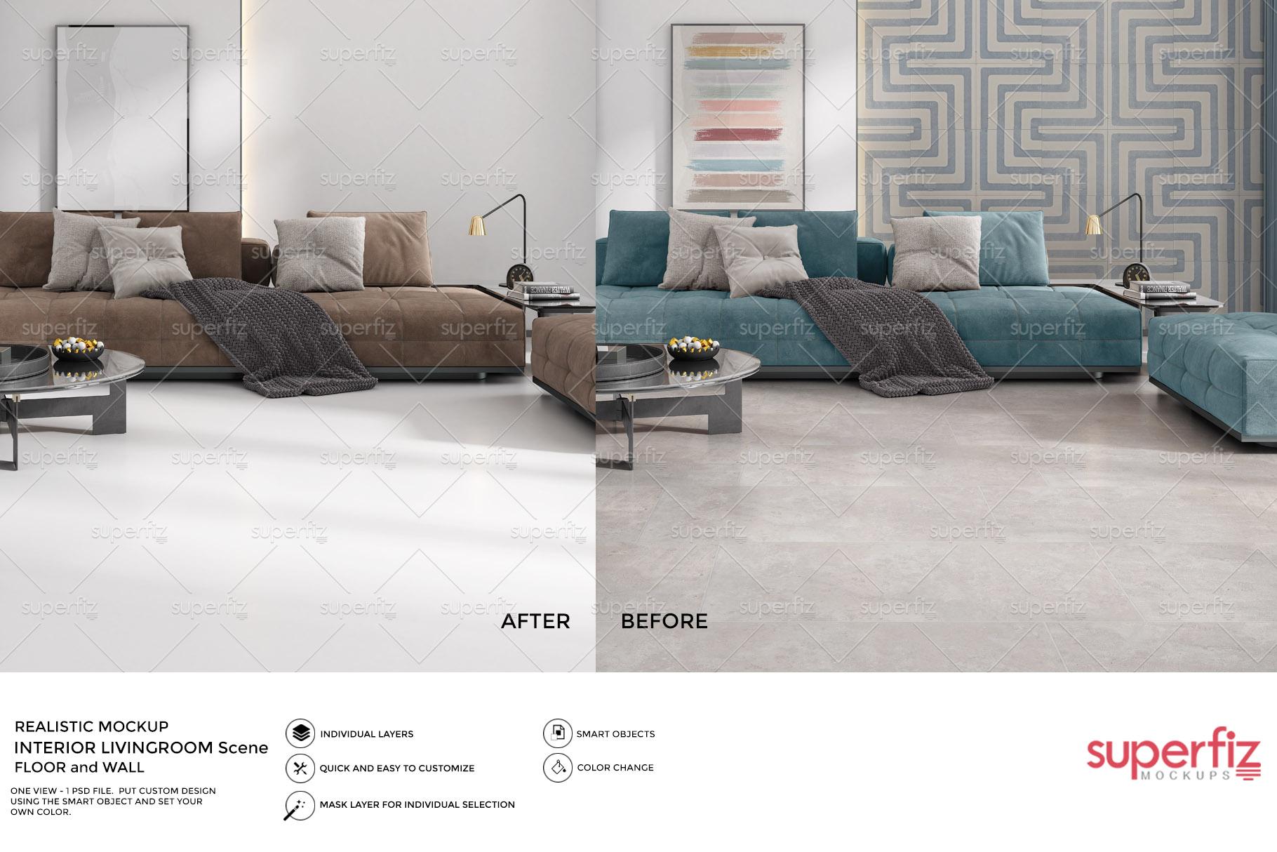 Blank Floor and Wall PSD Mockup Livingroom SM75 example image 2