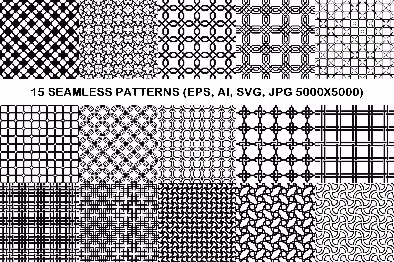 75 Monochrome Geometrical Patterns AI, EPS, JPG 5000x5000 example image 5