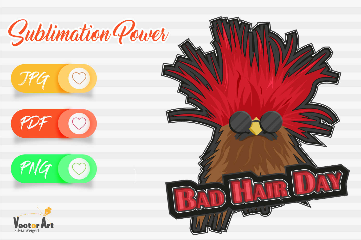 Bad Hair Day - Sublimation File for Crafter example image 1