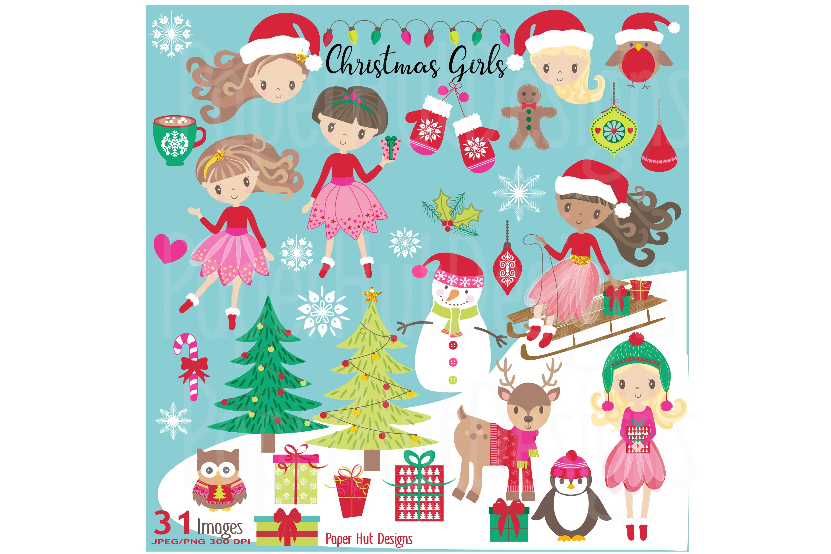 Girls Christmas Clipart example image 1