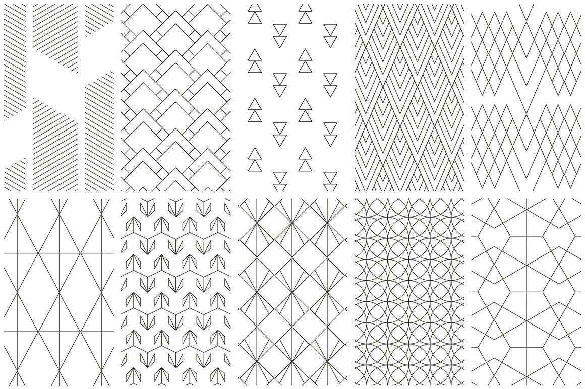 Simple Line Geometric Patterns example image 6