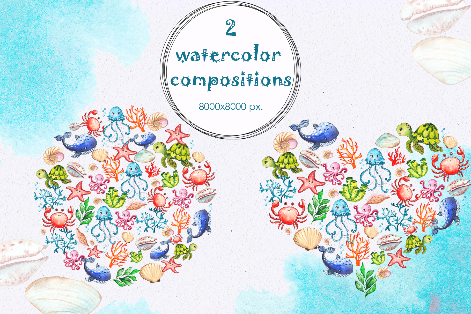 Little OCEAN creatures. Watercolor collection example image 2