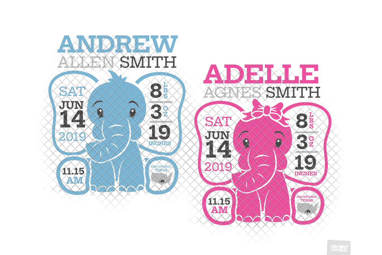 Elephant Birth Announcement SVG Ear Birth Stats Template example image 3