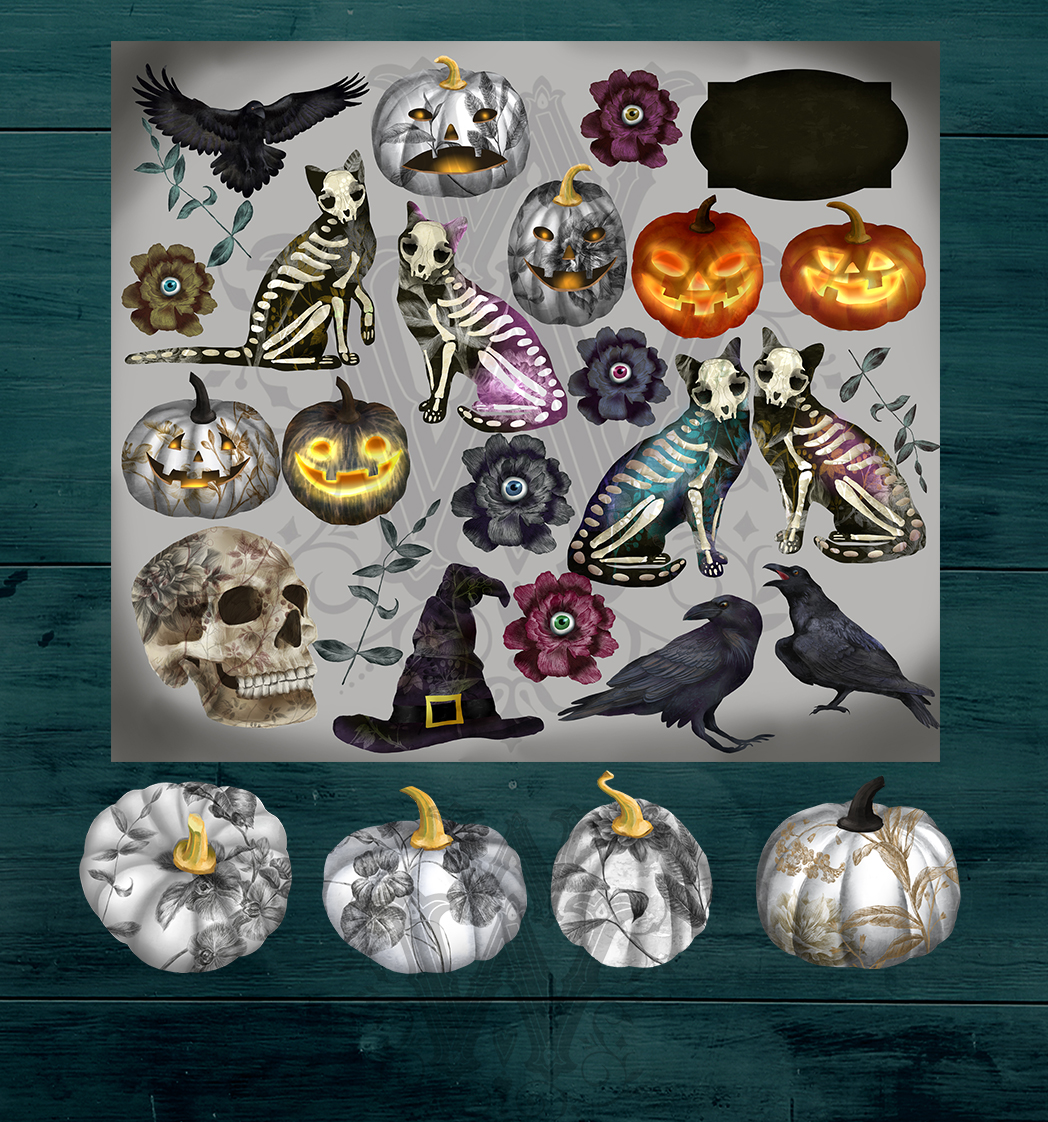 Halloween spooky clipart with skeleton cats, witch skull example image 2