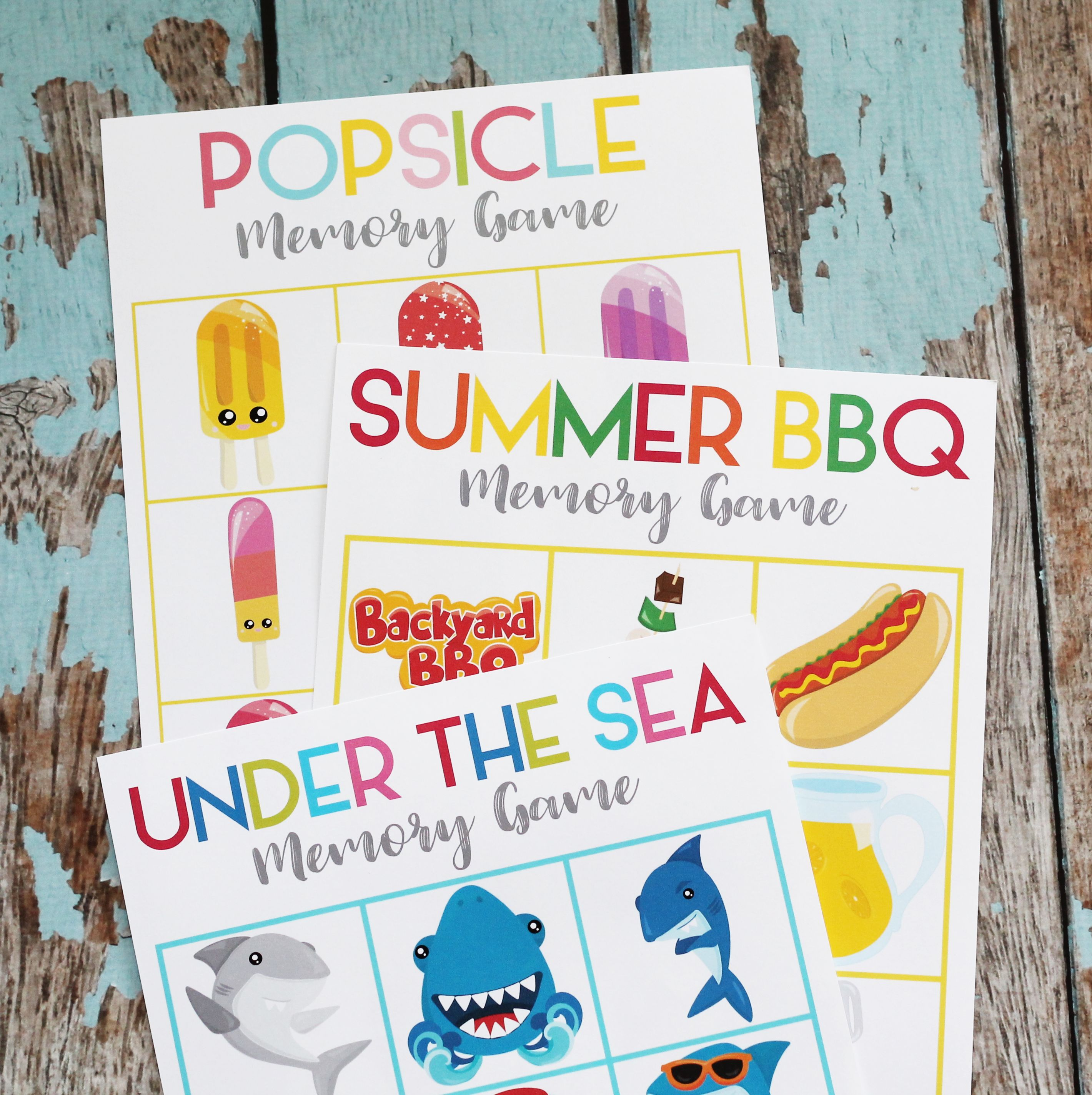 Printable Summer Memory Matching Game - 3 Games - ONE Download example image 1