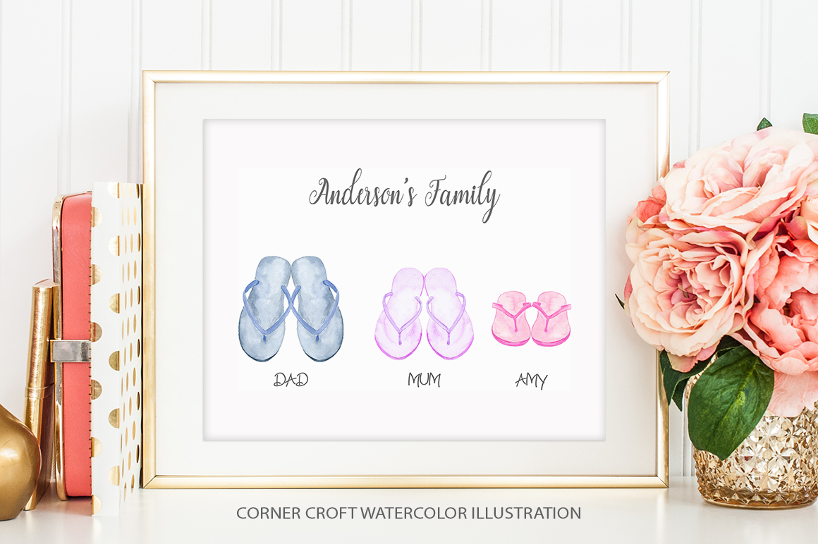 Watercolor flip flops clipart for instant download example image 6