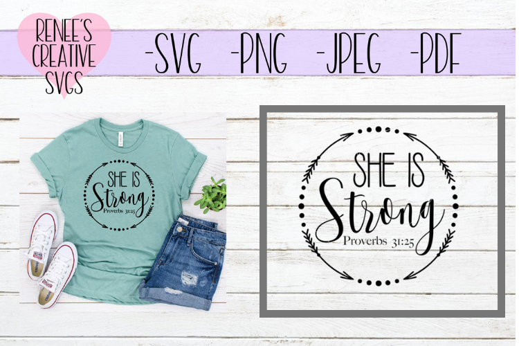 She is strong | Saying | SVG Cutting File example image 1