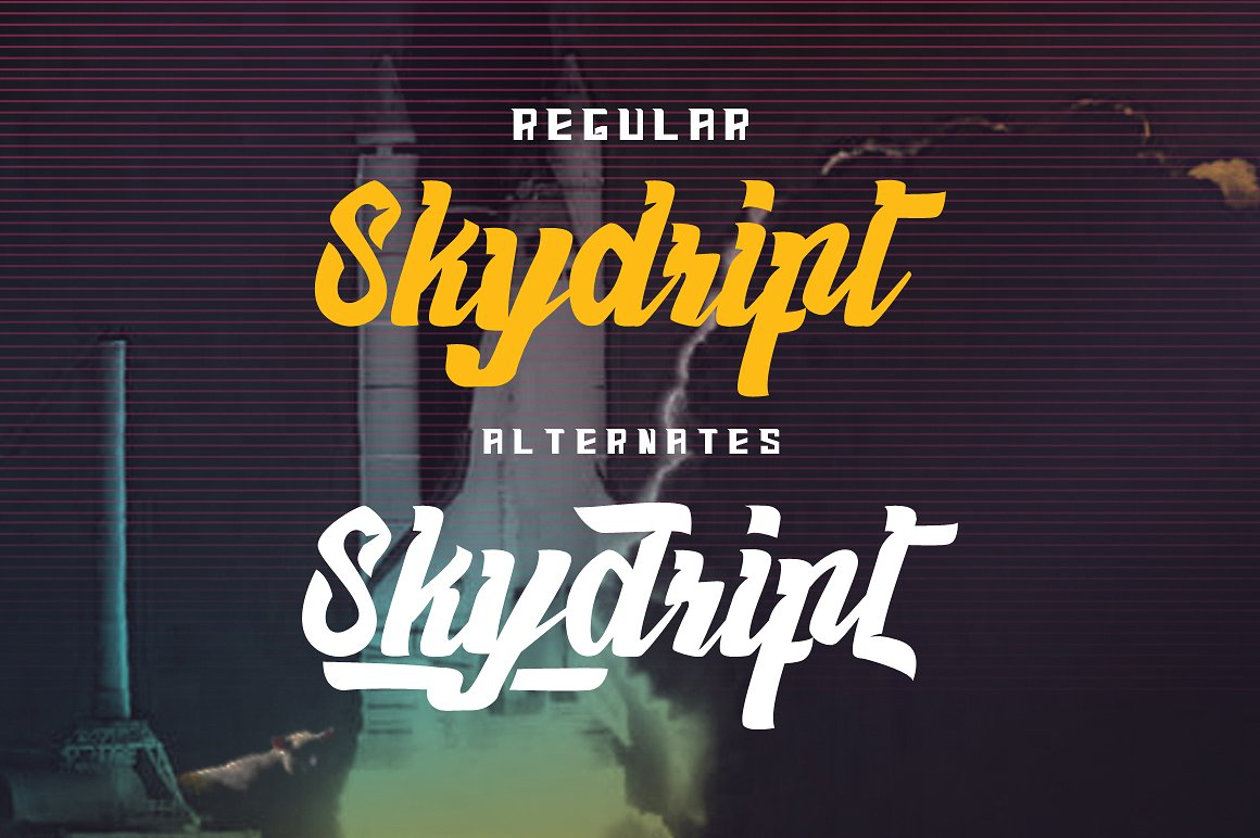 Haynthams Spacescript Font 2 in 1 example image 4