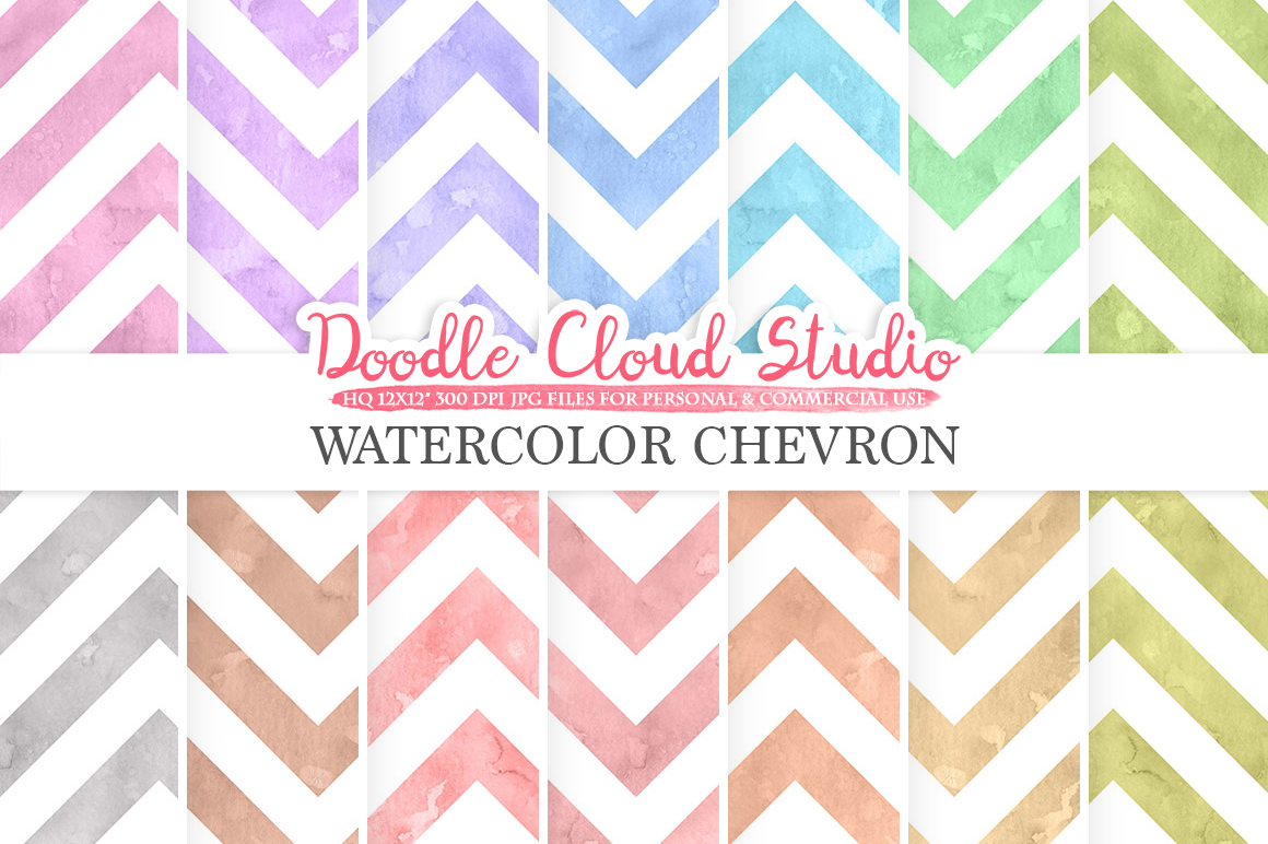 Watercolor Chevron digital paper, ZigZag patterns, pastel colors watercolor background, Instant Download for Personal & Commercial Use example image 1