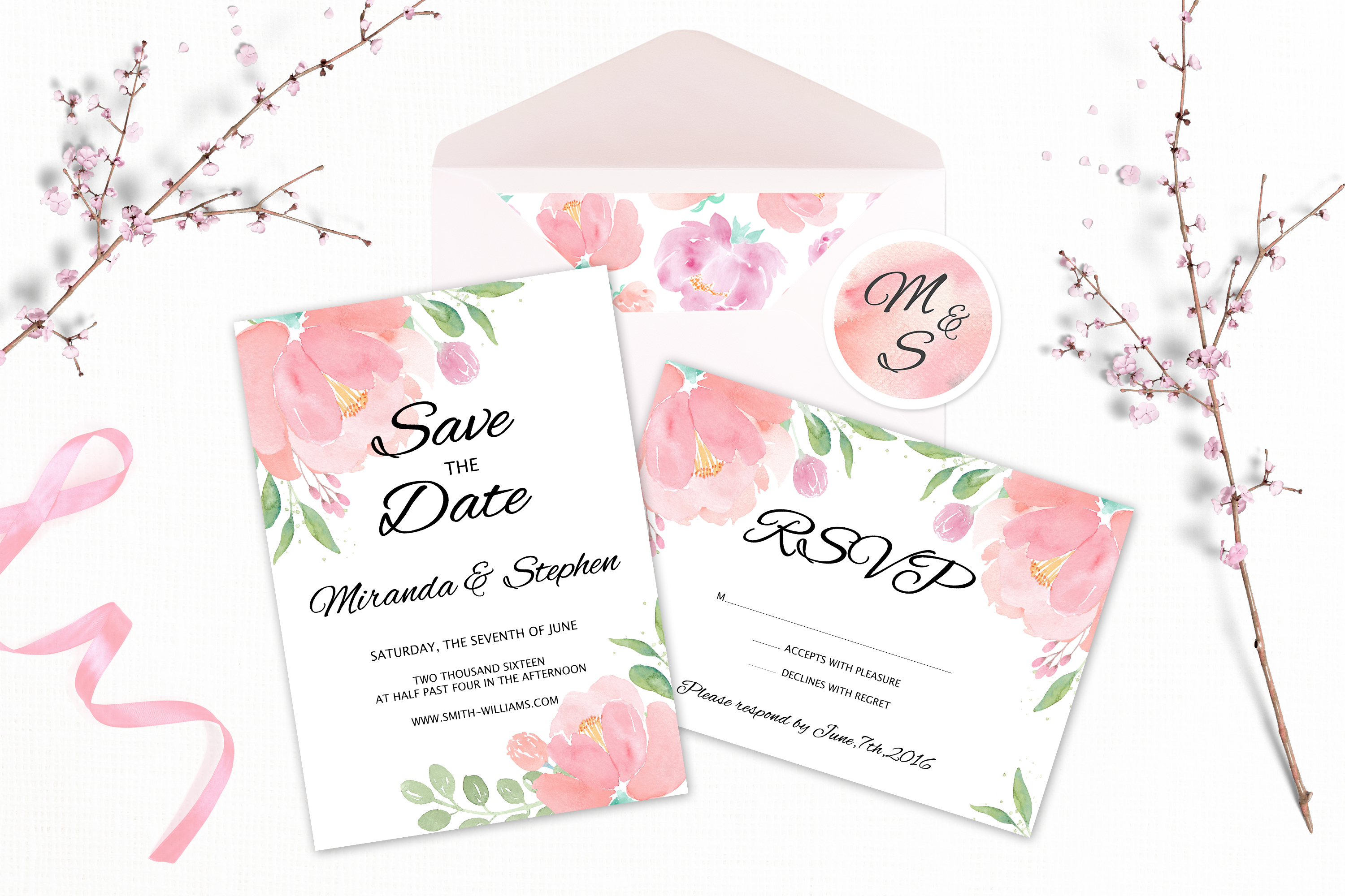 Watercolor Wedding Clipart. Flowers & Textures example image 5