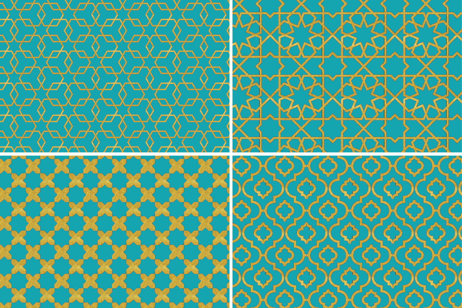 8 Seamless Moroccan Patterns - Gold & Turquoise example image 7