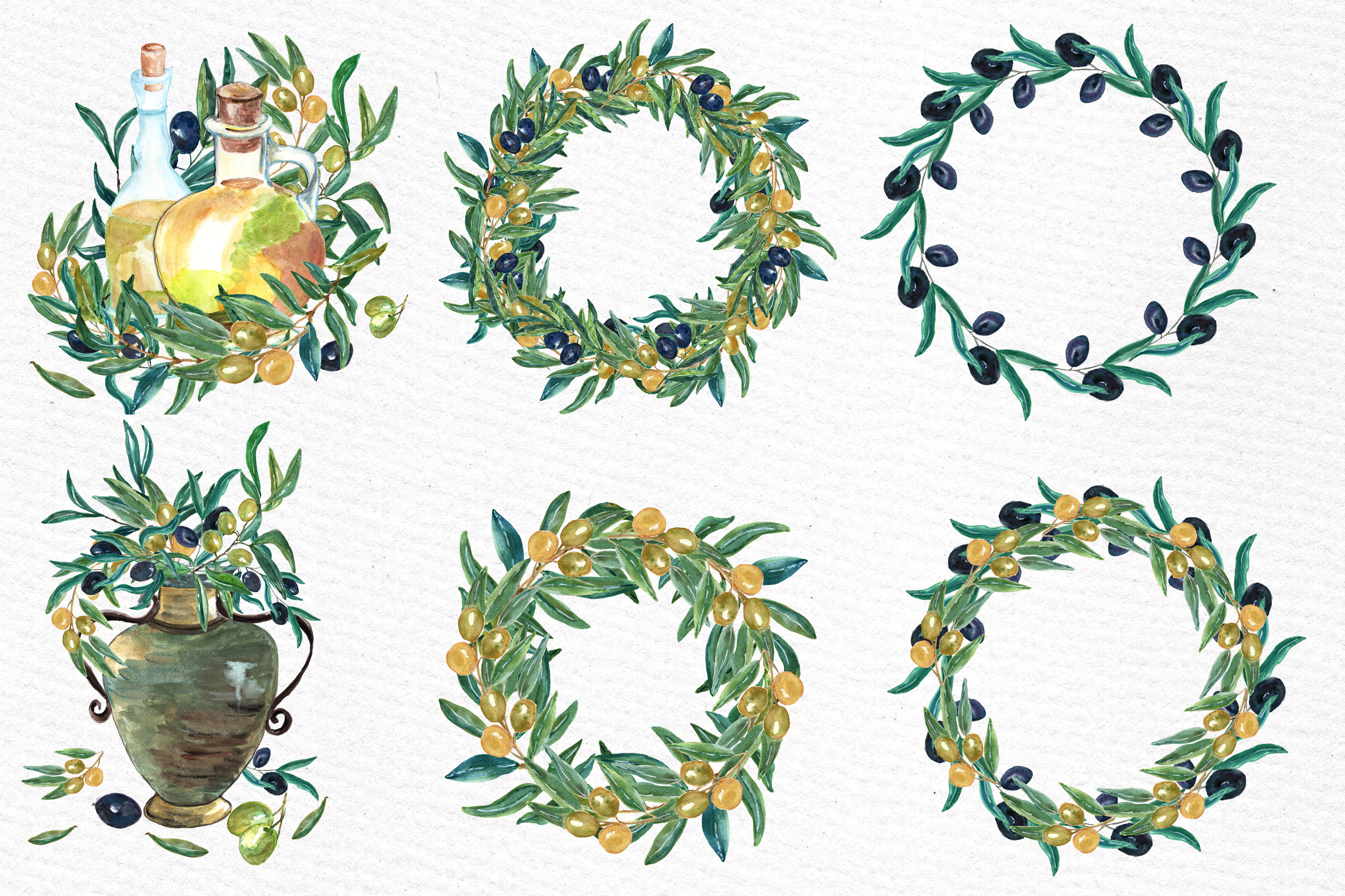Watercolor Olive clip art set example image 2