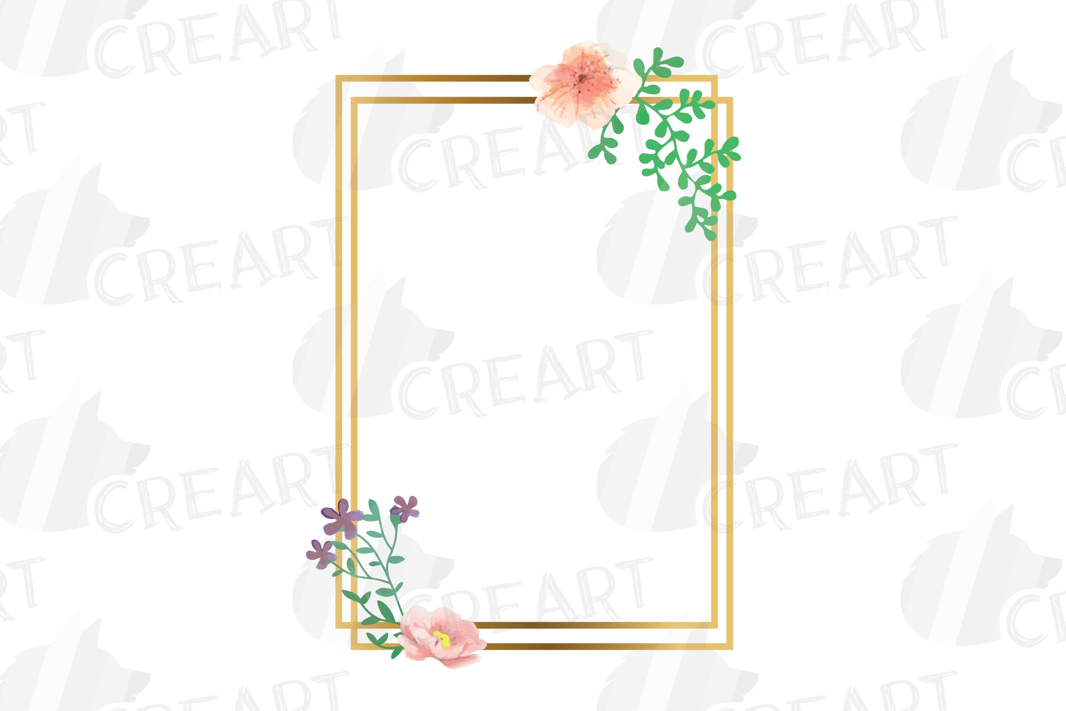 Golden Floral Frames Clip Art. Wedding geometric borders png example image 14