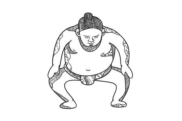 Sumo Wrestler Stomping Doodle example image 1