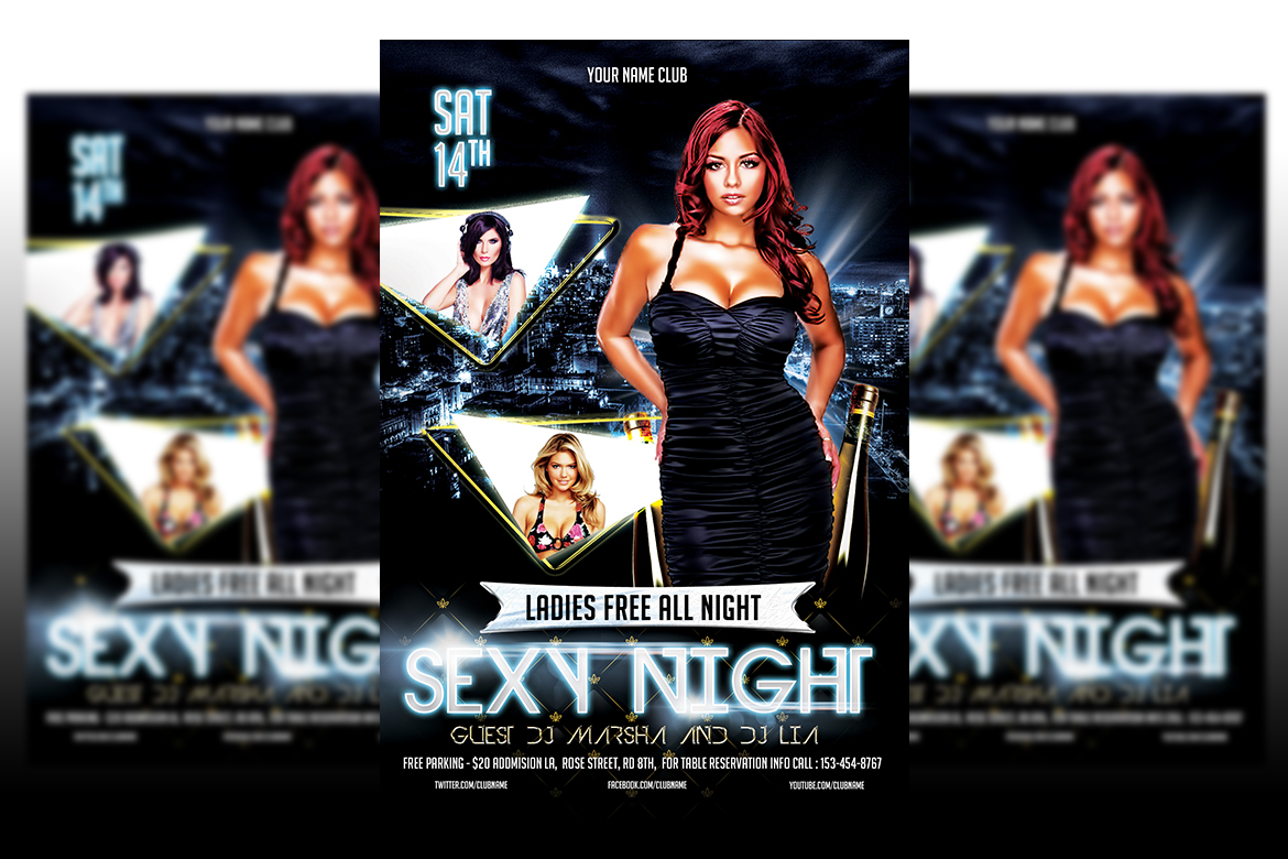 Sexy Night Party Flyer Template example image 1