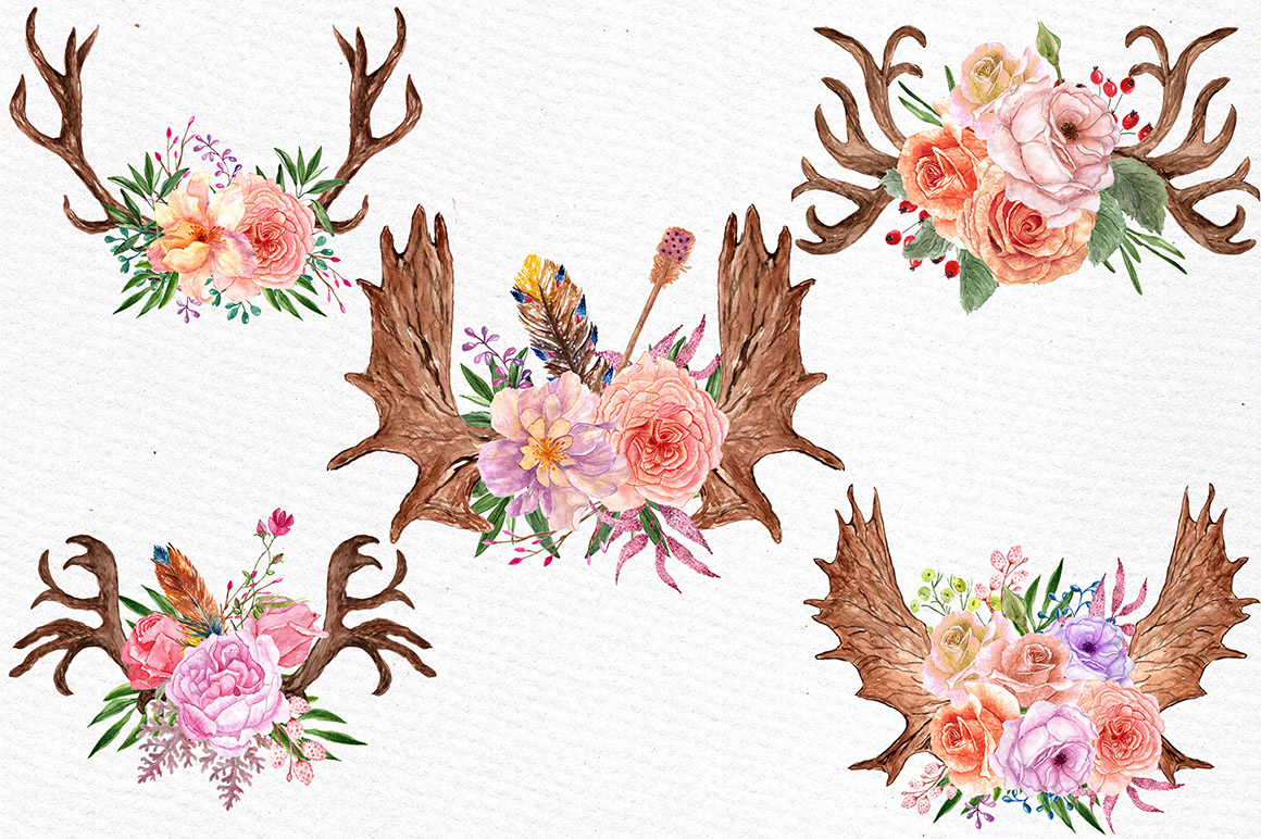 Watercolor floral antlers clipart example image 3