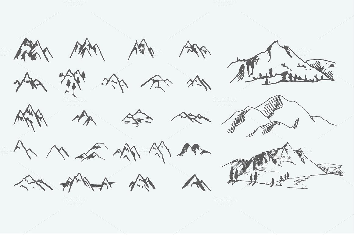 Pack of 12 mountains logo, 62 icons example image 3