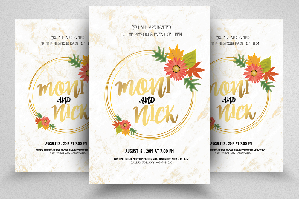 4 Floral Wedding Invitation Flyers Bundle example image 5