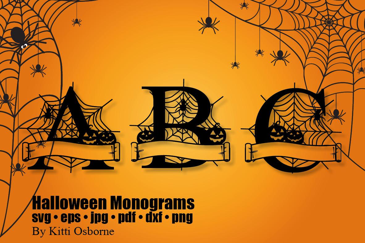 Halloween Split Monograms A-Z example image 6