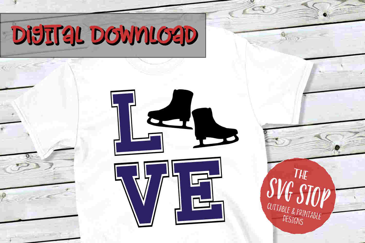 Love Skating -SVG, PNG, DXF example image 1