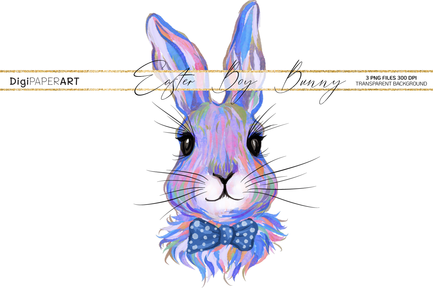 Easter Bunny Boy Face PNG, Colorful Happy Easter Clipart example image 1