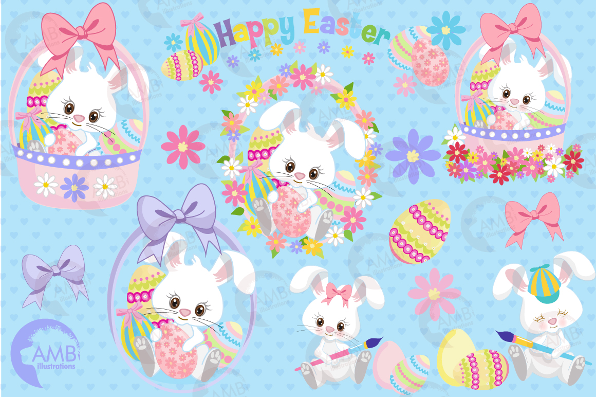 Easter Bunnies clipart, graphics, illustrations AMB-1182 example image 5