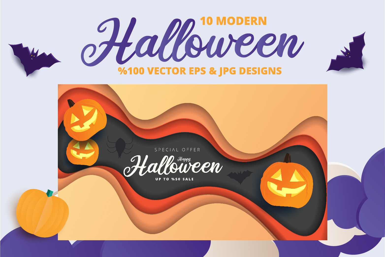 Halloween Sale header or banner design and invitation flyer example image 2