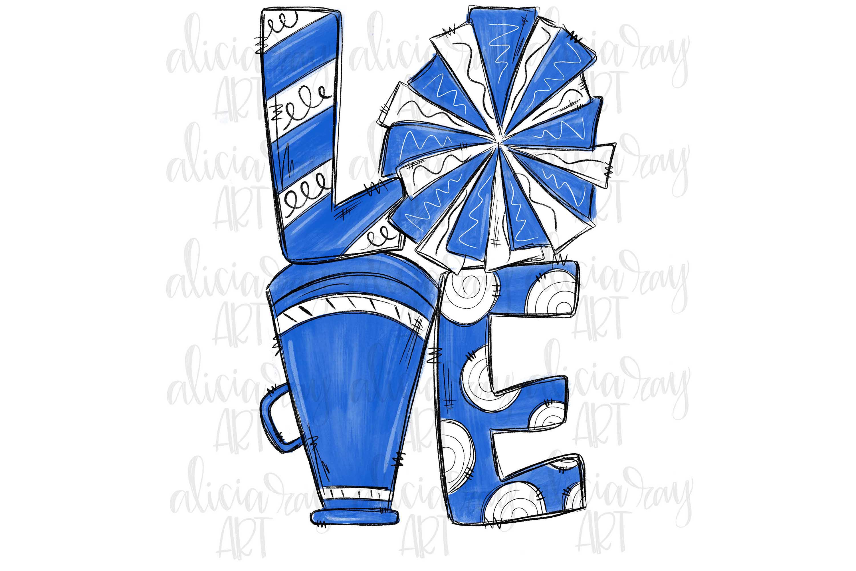Cheer Love Royal Blue and White example image 1