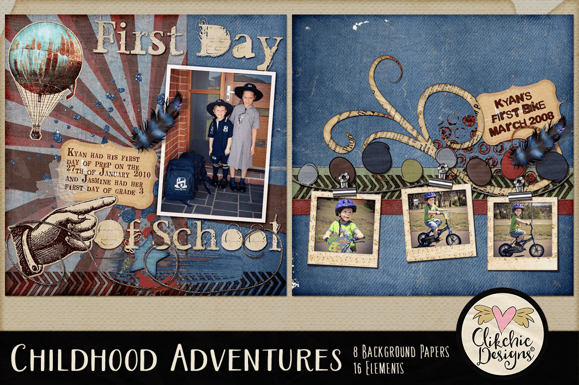 Digital Scrapbook Kit - Childhood Adventures Clipart example image 9