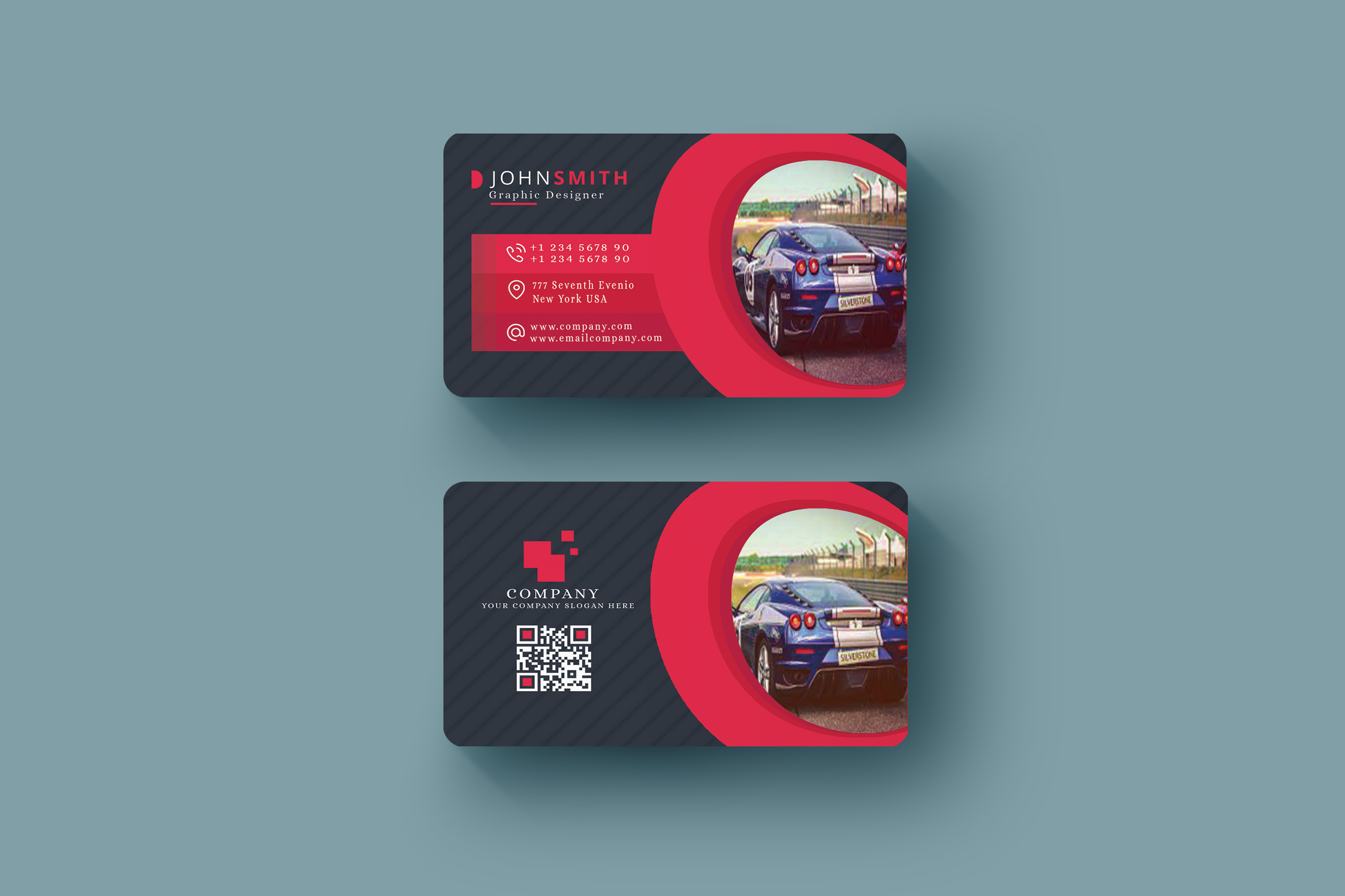 Abstract Business Card in Multicolor Design Template  example image 4