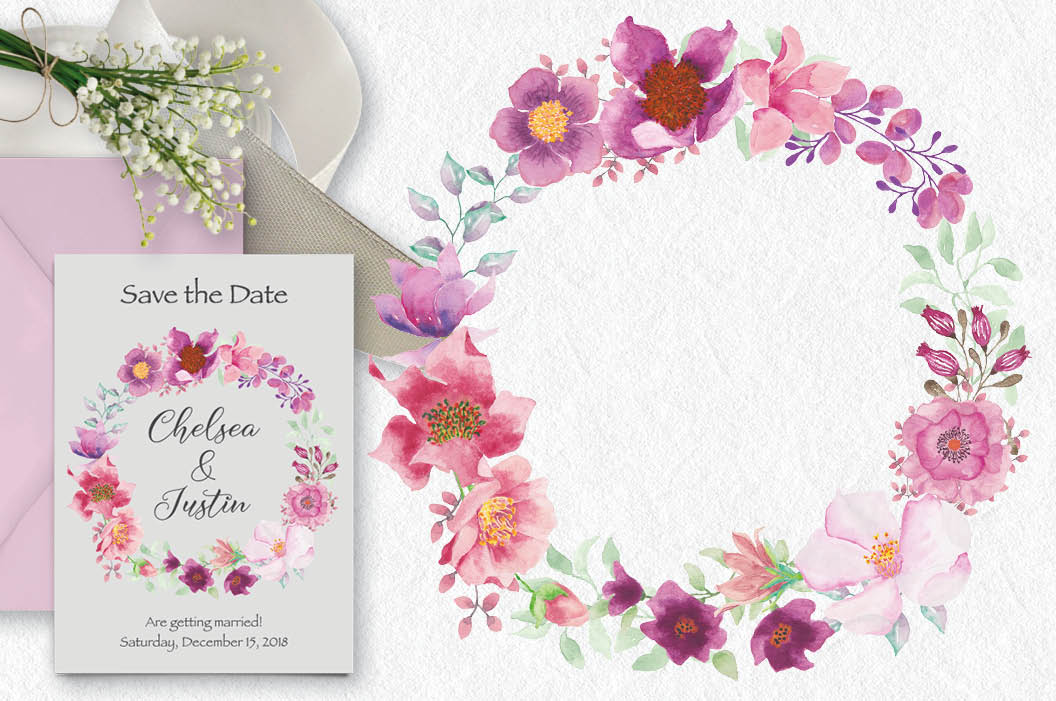 Watercolor wreath and sprays in pinky shades example image 2