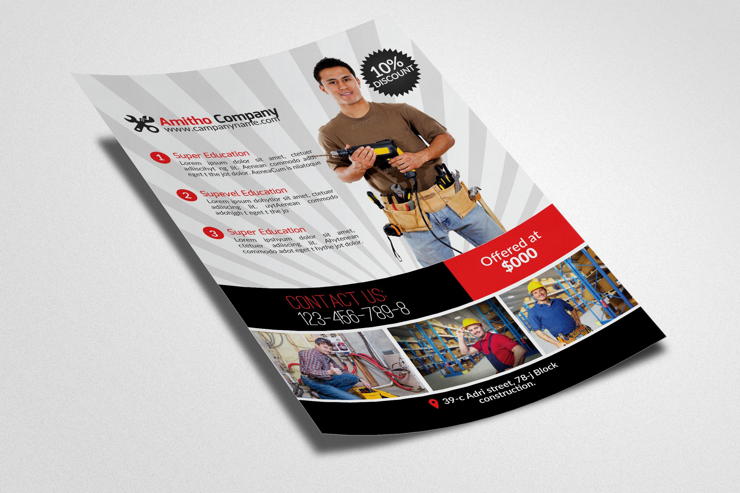 Handyman & Plumber Flyer example image 2
