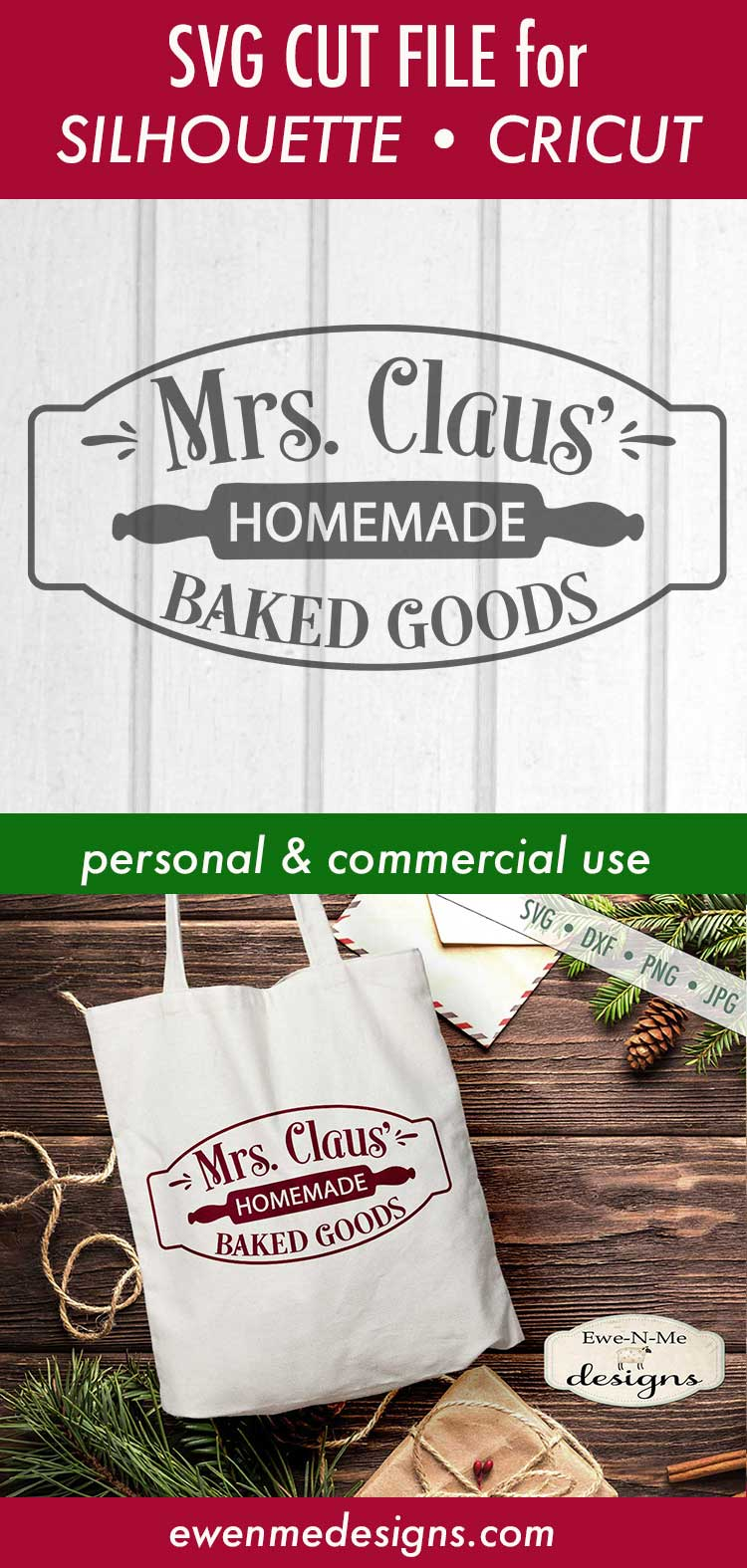Mrs Claus' Baked Goods - Christmas - Rolling Pin - SVG DXF example image 3