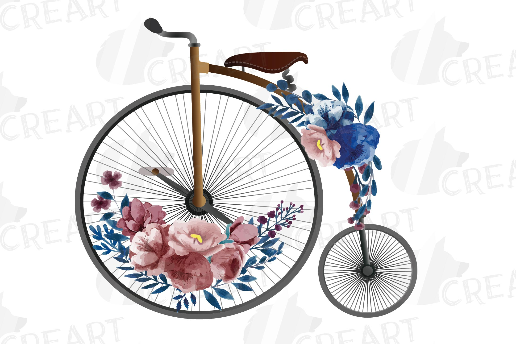 Navy blue and blush floral high wheelers clip art pack example image 7