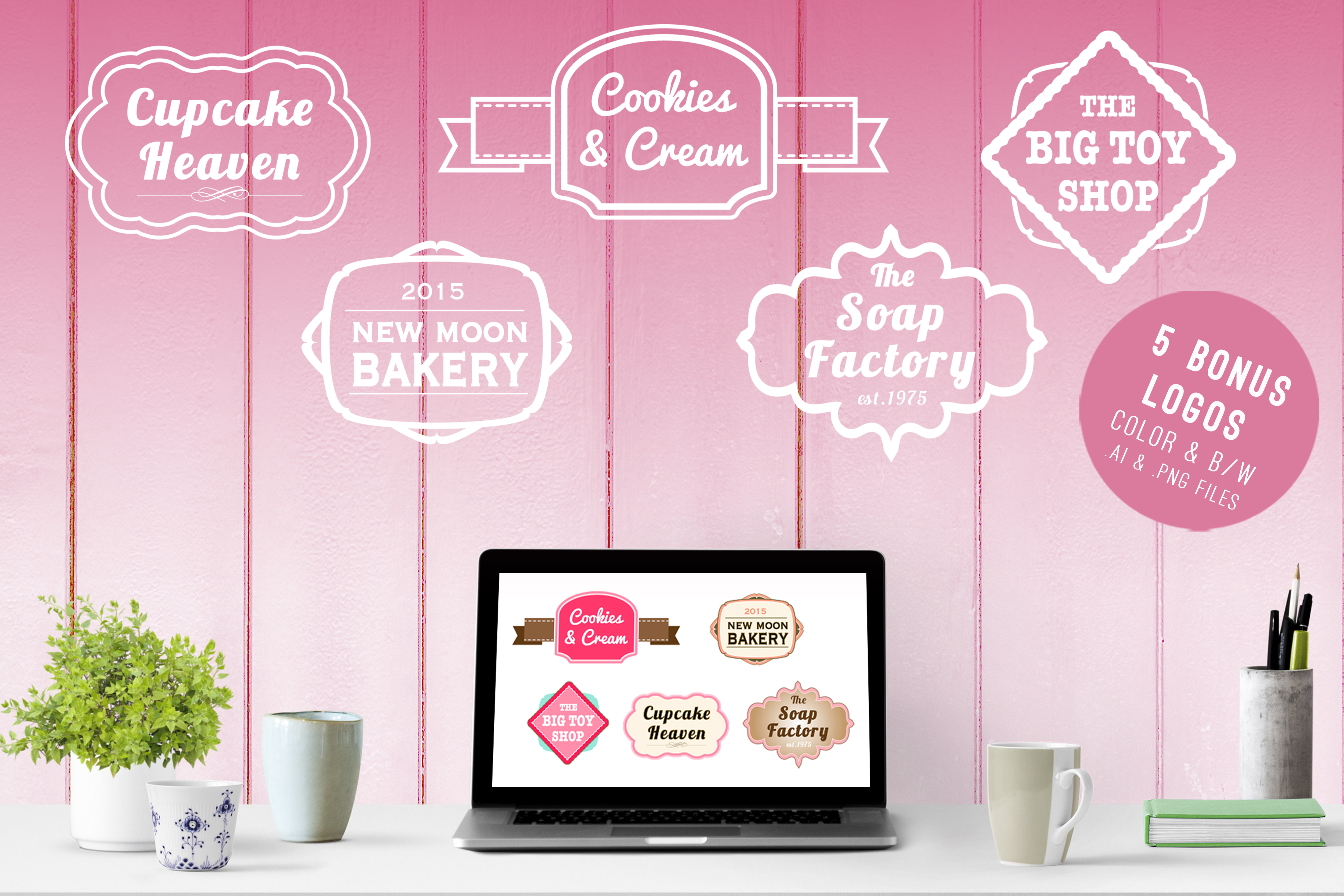 branding kit with pink backgrounds, pink mockups example image 5