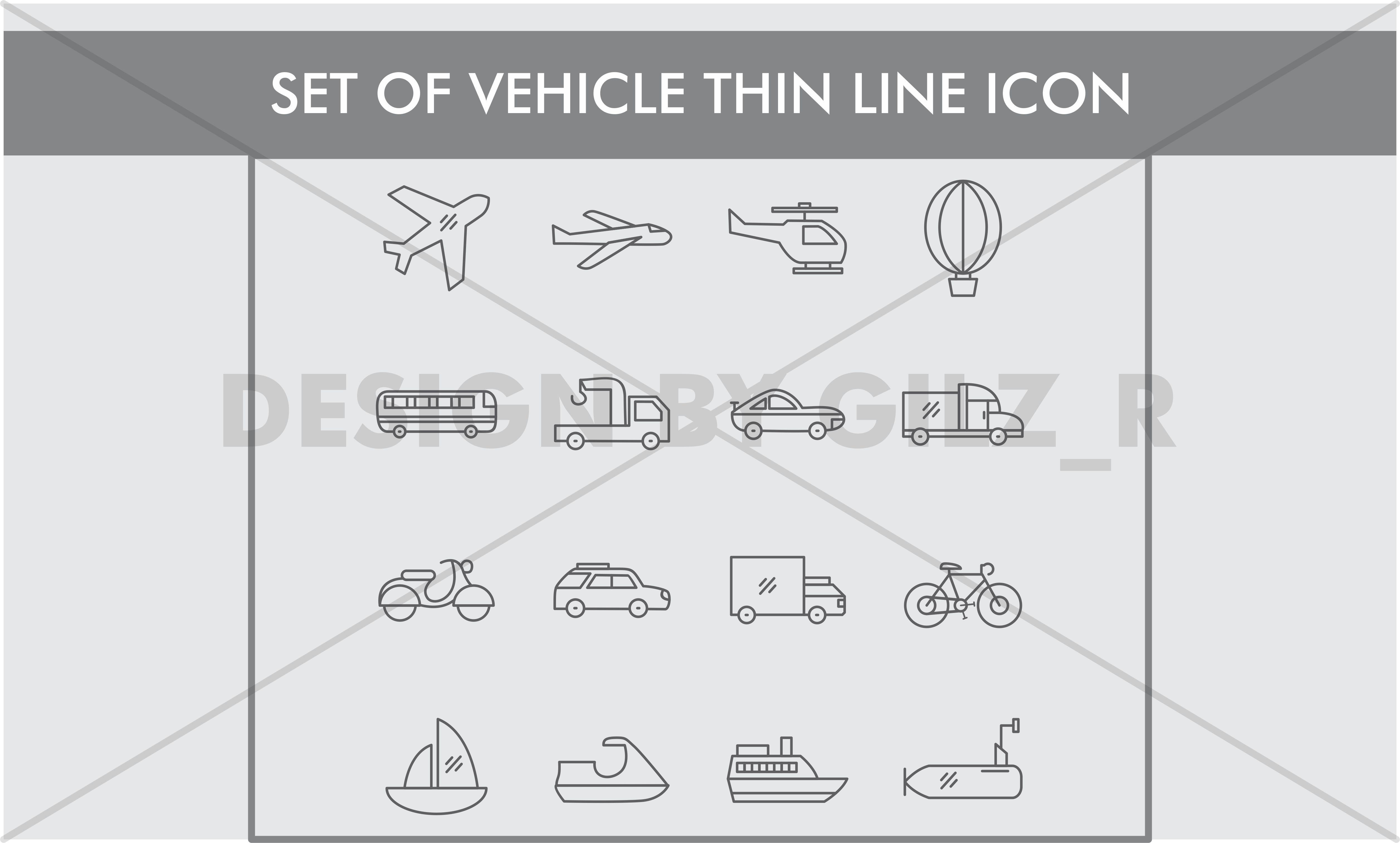 Set of Vehicle Thin Line Icons example image 1