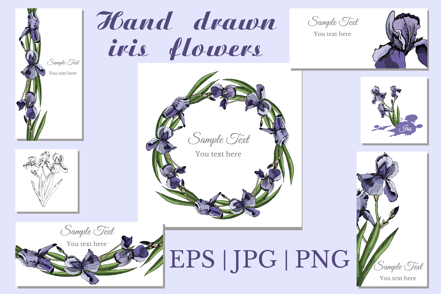 Collection with sketches of iris flowers and seamless patterns.  example image 1