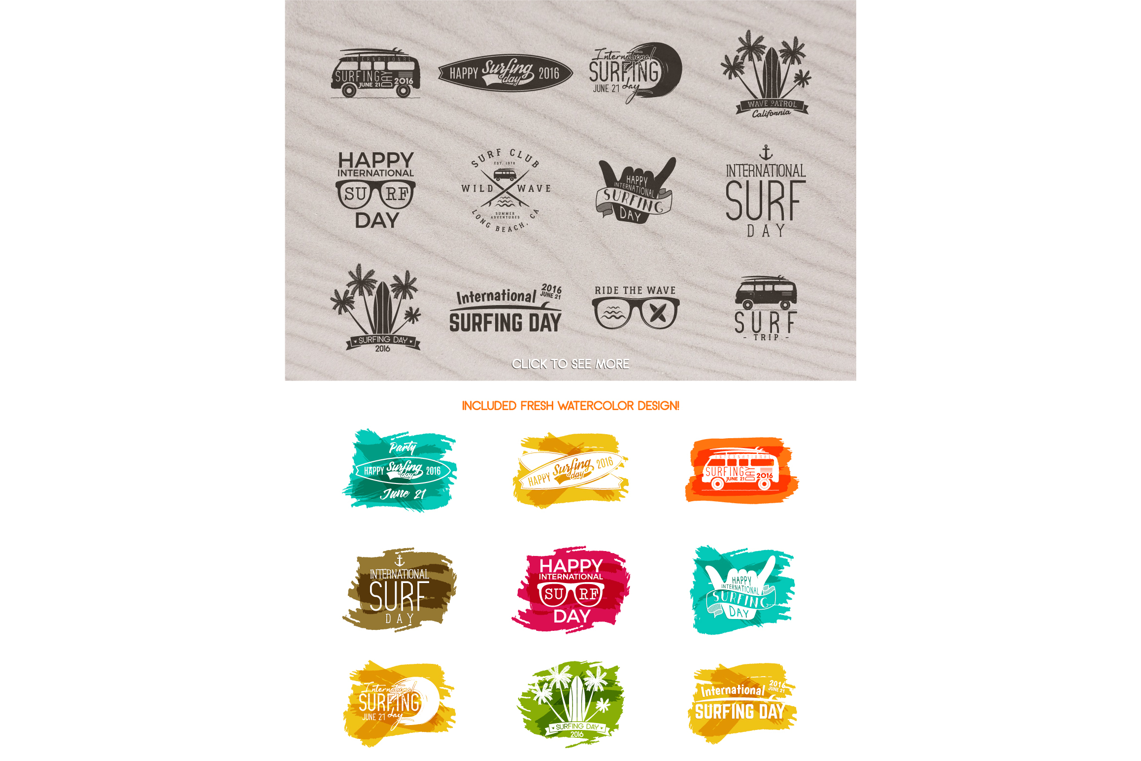 Summer Surfing Badges & Elements example image 4
