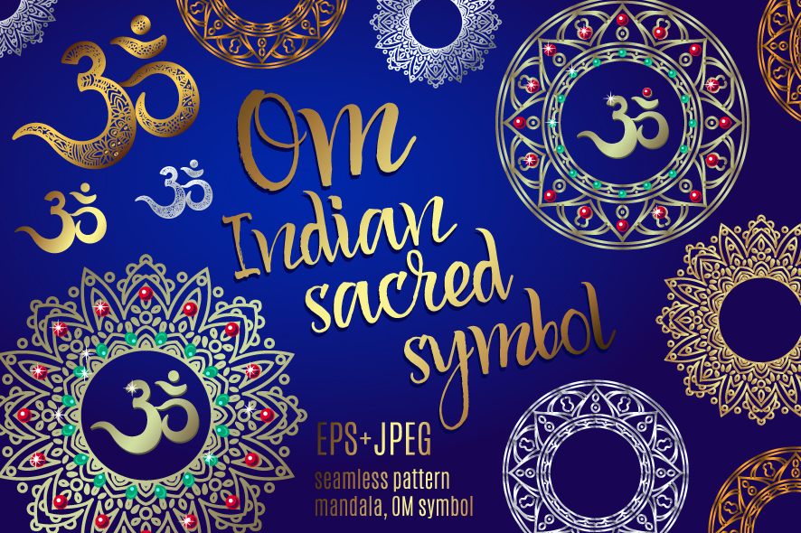 The sacred symbol Om, Mandala. Set. example image 1