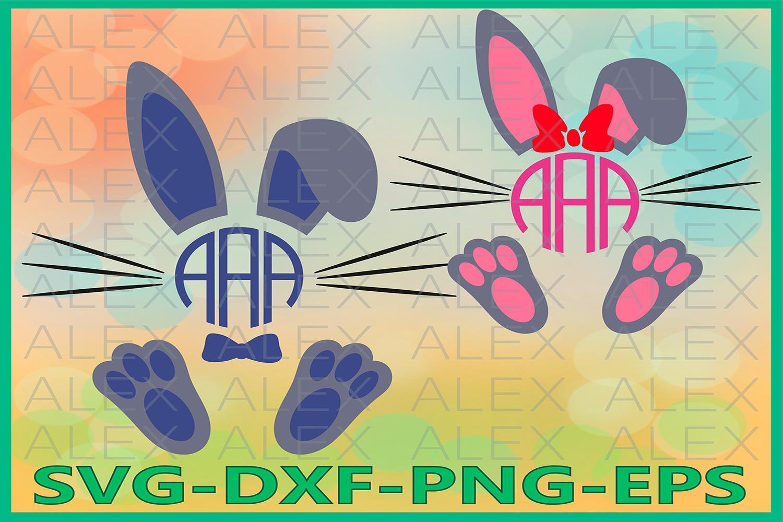 Bunny monogram Svg, Bunny Svg, Easter SVG, Easter Bunny svg example image 1