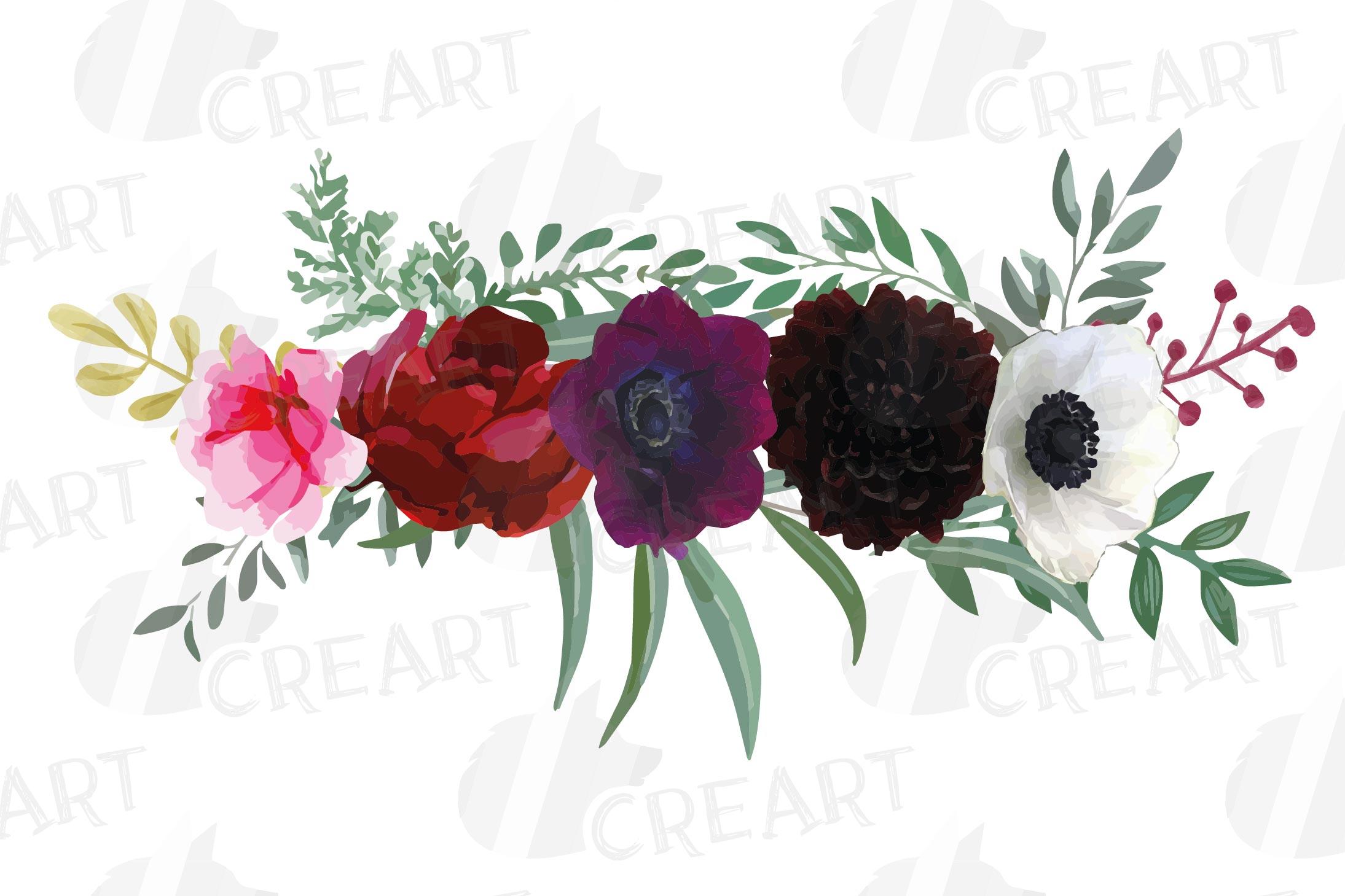 Watercolor elegant floral bouquets, rose, anemone decoration example image 10