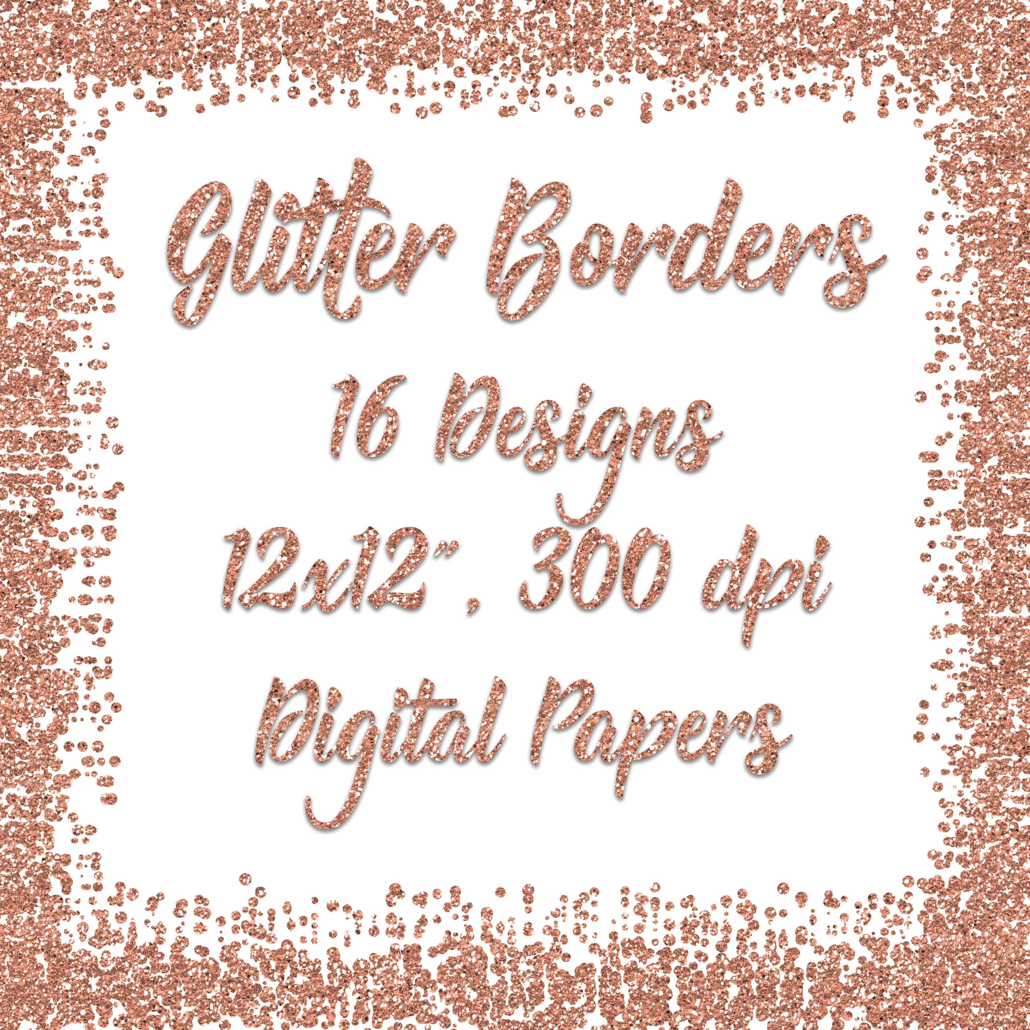 Rose Gold Glitter Borders Digital Paper example image 5