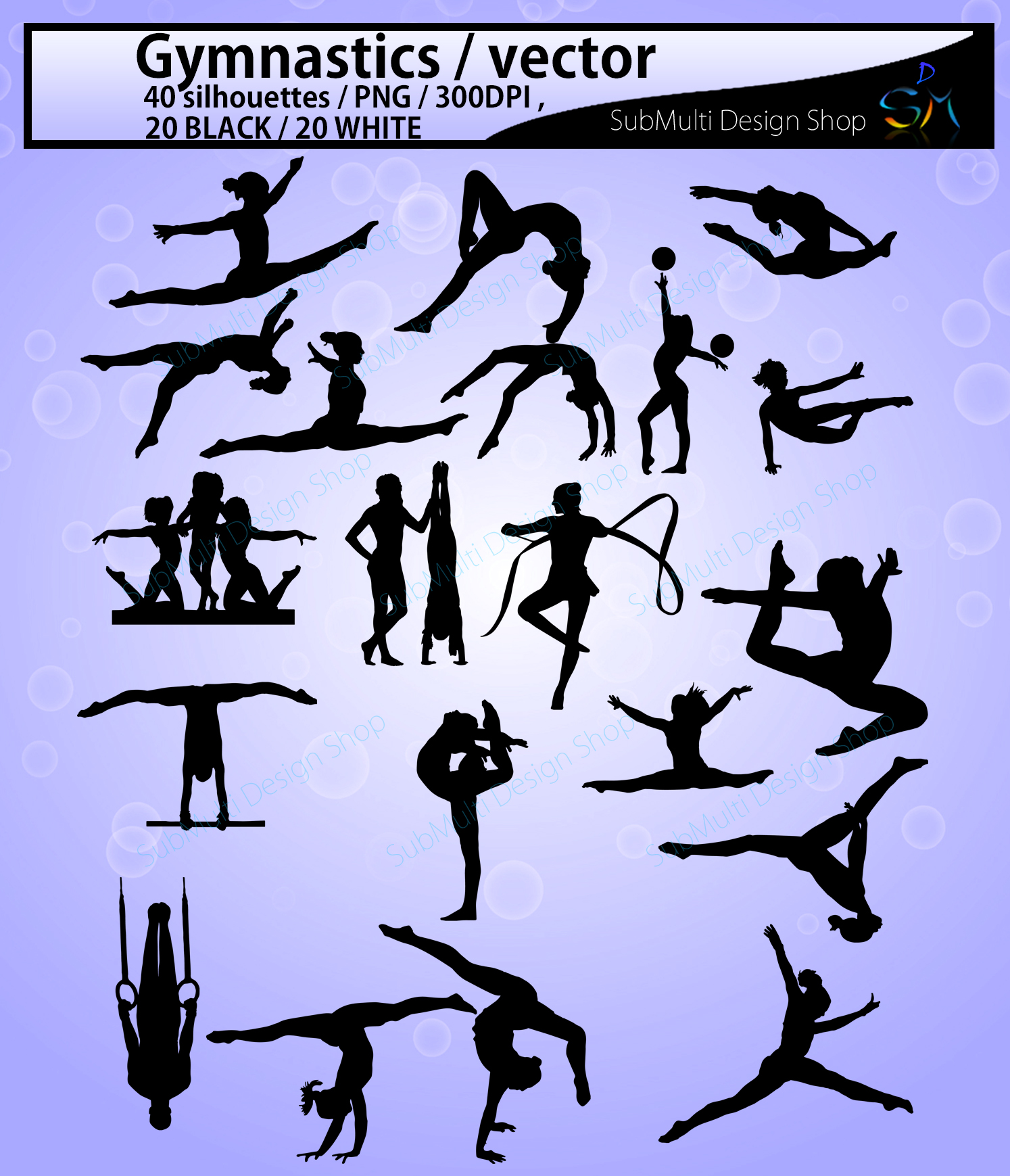 Gymnastics silhouette svg / Gymnastics clipart / silhouette / Gymnastics printable vector file : black and white / SVG / Png / EPS / DXf example image 2