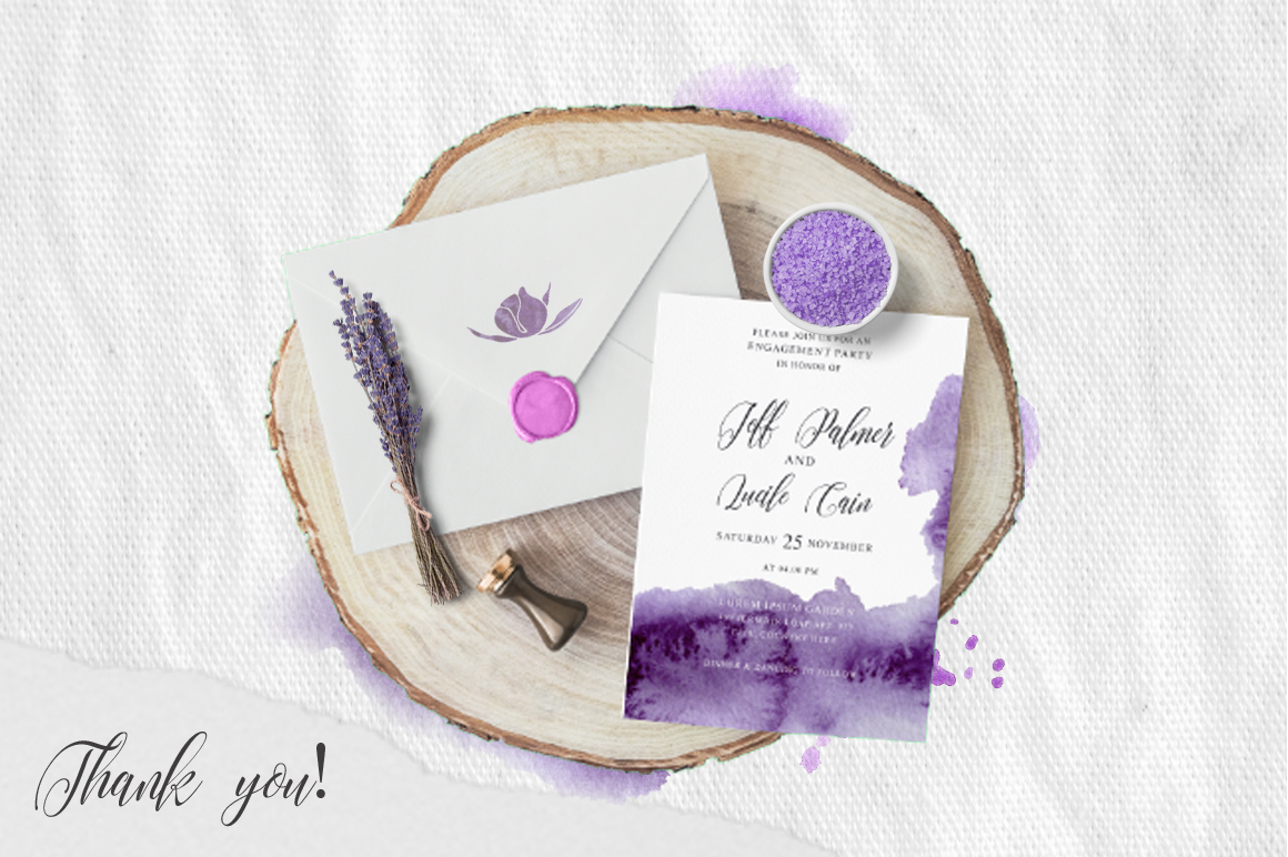 Ultra Violet Watercolor Wedding Invitation suite example image 4