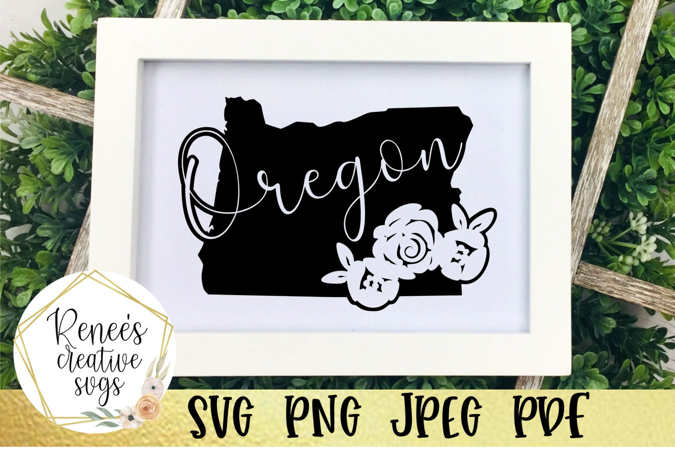 Oregon state with flowers| State SVG | SVG Cut file example image 1