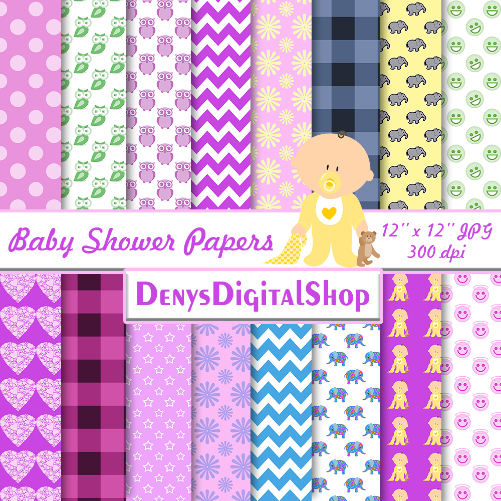 Baby Shower, Elephant Baby Shower, Baby Shower Papers,SALE example image 2