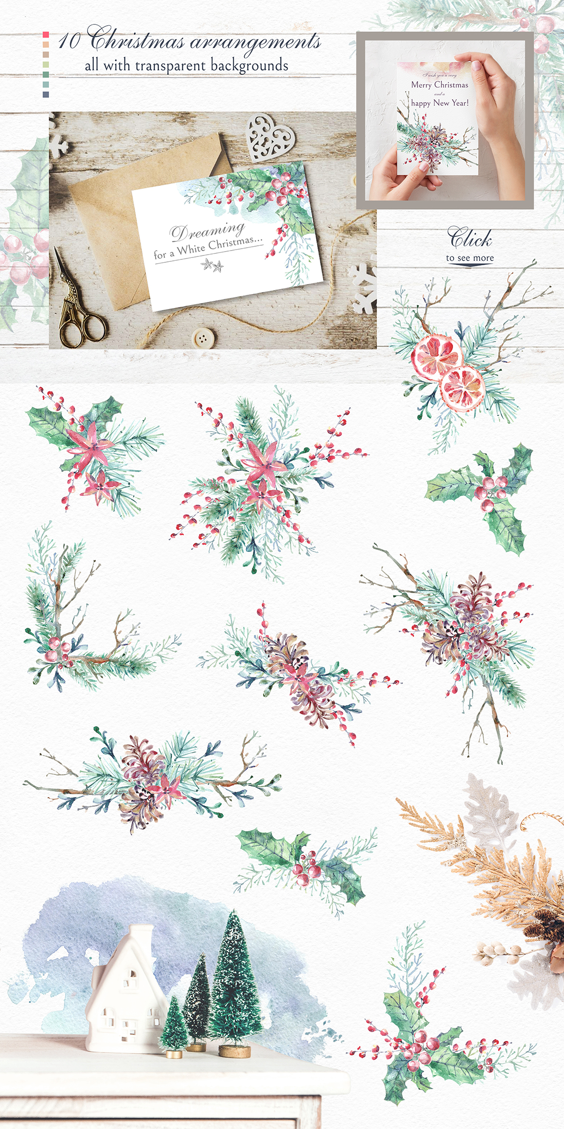 Cozy CHRISTMAS. Watercolor graphic kit. example image 6