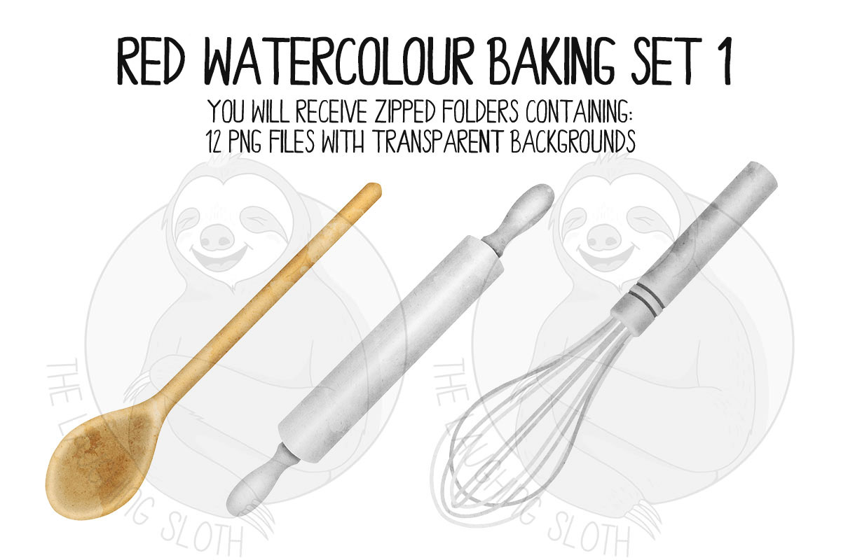 Red Watercolor Baking Clip Art Set example image 5