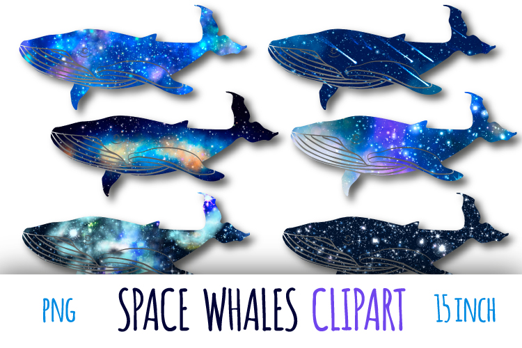 Galaxy whales clipart example image 1