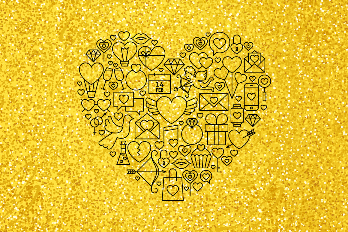 Valentine Day Gold Line Concepts example image 2